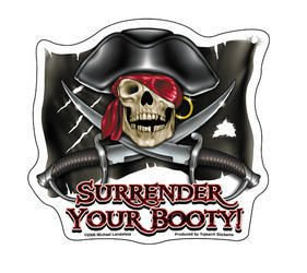 Michael Landefeld - Surrender Your Booty Pirate Flag - Sticker / Decal