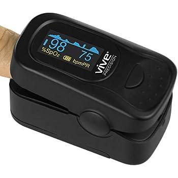 Vive Precision Pulse Oximeter Fingertip - Heart Rate & SpO2 Monitor - Blood Oxygen Saturation Levels Sensor Finger Reader - Ox EMT Plethysmograph Digital O2 ...
