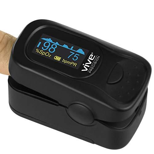 Vive Precision Pulse Oximeter Fingertip - Heart Rate & SpO2 Monitor - Blood Oxygen Saturation Levels Sensor Finger Reader - Ox EMT Plethysmograph Digital O2 Tracker - Batteries, Case, Lanyard Included