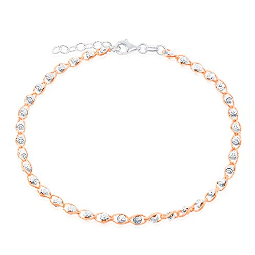 Sterling Silver Rose Tone Diamond-Cut 9+1'' Bead Anklet by Beaux Bijoux