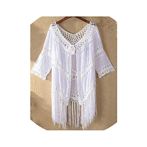 (two- Women Beach Cover Up Sexy Cover-Ups Solid Tassel Beach Dress Swimsuit Cover Up Hollow Out Ladies Dresses,As Photo Shows,One Size)