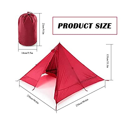 Desert Walker, 1.6LB Ultralight Folding Camping Tent,15D Nylon Double Silicone,Pyramid shaped/Triangle Design, Idea for Climbing/Hiking/Travel/Hunting Tent(4 Seasons Ventilation Outdoor)