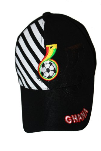 Ghana Black With White Stripes FIFA Soccer World Cup Embossed Hat Cap .. ADULTS FLEXFIT.. New