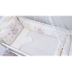 Bear Themed Pink/beige Baby Girls 10pcs Nursery Crib Bedding Set Embroidered