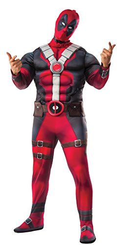 Rubie's Men's Deadpool Plus Deluxe Muscle Chest Costume and Mask, Multi, PlusSize -