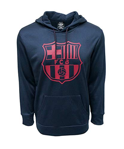 Barcelona Hoody - FC BARCELONA Official Merchandise by HKY Sportswear Men's Logo Front Fleece Hoodie (Navy, Small)