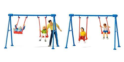 Children on Playground Swings - 4 Children, Father, 2 Swing Sets by Preiser Kg