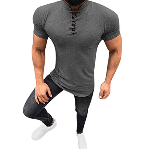 GDJGTA Tops for Mens Summer Fashion Solid Stand Collar Drawstre Short Sleeve Fitness Casual Tops Dark Gray ()