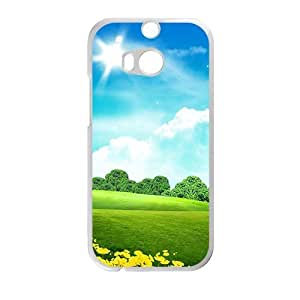 Personalized Creative Cell Phone Case For HTC M8,sunshine blue clouds sky and green land