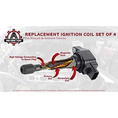 Ignition Coil Pack Set of 4 - Fits 2007-2020 Nissan Altima 2.5L, Sentra, Rogue, Cube, Versa, Infiniti QX60 Hybrid, FX50, M56 - Replaces 22448JA00C, IGC0002, C1696, 22448ED000, 22448JA00A, UF549: Automotive