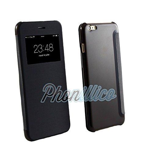 Phonillico® Coque Flip Cover View Noir pour Apple iPhone 6 Plus / 6S Plus - Coque Housse Etui Case Protection Rabat Fenetre Window View Ultra Slim