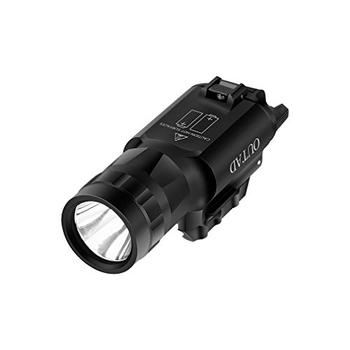 Weapon Mounted Tactical Flashlight OUTAD 500 Lumen Pistol Rifle Cree LED Strobe Flashlight with Weaver Quick Release for Glock Series, Sig Sauer, Smith and Wesson, Springfield, Beretta, Ruger, etc.