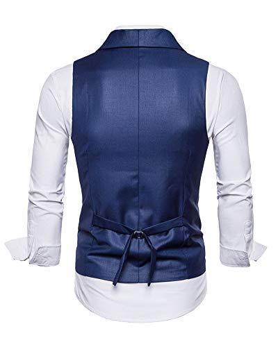 Gilet Revers Double Sans Costume Boutonnage Unie Homme Bleu Veste Couleur Manches w1qfUBUd