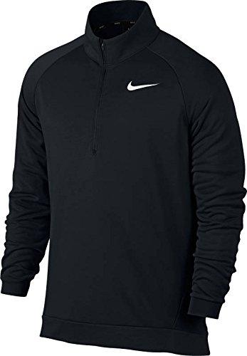 Nike Mens Dry Quarter Zip Fleece Shirt Black/White 860477-010 Size - Fleece Quarter Zip Pullover