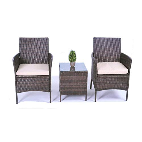 United Flame CONVERSTION Sets 3 Pieces Wicker Chairs Patio Furniture Set Lawn Garden Backyard Balcony Rattan SECTIONAL Sofa with Cushions and Glass All Weather Cafe Sets