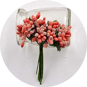 vibe-pleasure 12Pcs/lot Handcraft Artificial Flowers Stamen Sugar Wedding Party Decoration DIY Wreath Gift Box Scrapbooking Fake Flowers,Orange 20