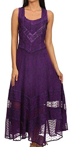 (Sakkas 15225 - Zendaya Stonewashed Rayon Embroidered Floral Vine Sleeveless V-Neck Dress - Purple - S/M)