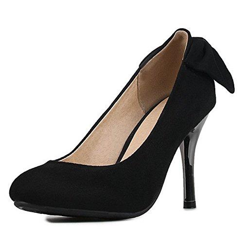 COOLCEPT Mujer Moda Tacon De Aguja Bombas Zapatos Sin Cordones Zapatos Tacon Alto Delgado Negro