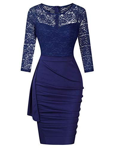 (HiQueen Tea-Length Lace Dresses for Teen Girls Three Quarter Sleeve Pencil Dress Navy S)