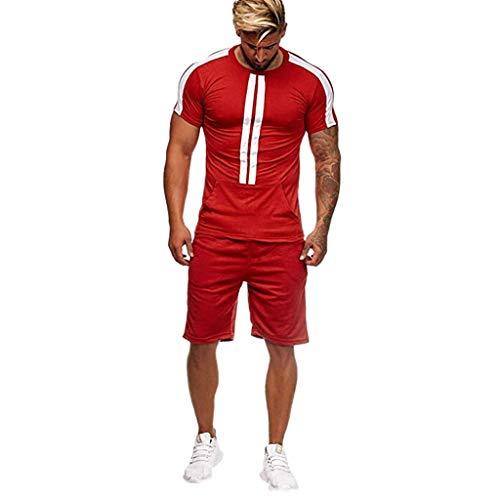 (Realdo Big Mens Tracksuit Set,Men's 2 Pcs Casual Solid Stripe Shirt Shorts Sports Thin Athletic Wear (Small, Red) )