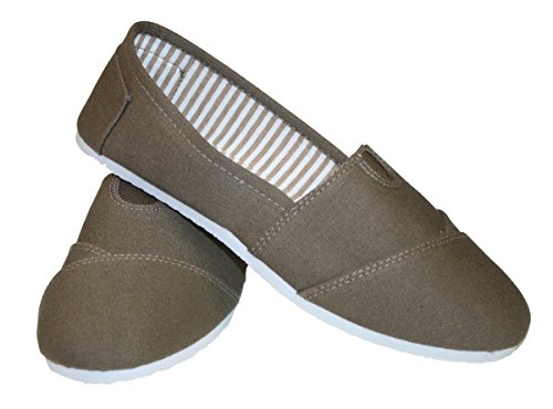 Women Canvas Sole Slip-on Flats Brown With White Sole Canvas B009G90KIS Shoes 4e241f