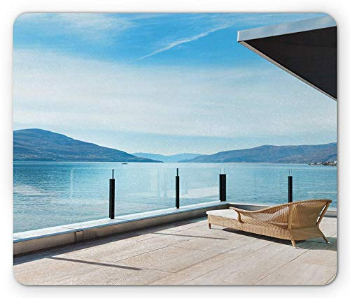 (Patio Mouse Pad, Penthouse Terrace with Ocean Idyllic Sea and Mountain Landscape Photo, Standard Size Rectangle Non-Slip Rubber Mousepad, Sky Blue Black and White)