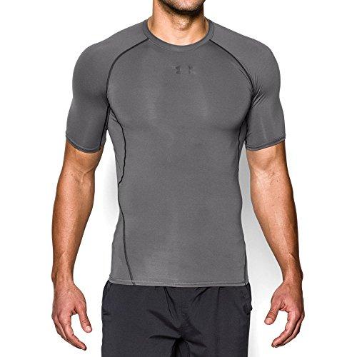 Under Armour Men's HeatGear Armour Short Sleeve Compression Shirt, Graphite/Black, Large - Under Armour Gray Shirt