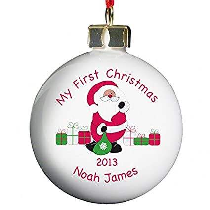 First Christmas.Personalised Bauble Baby S First Christmas