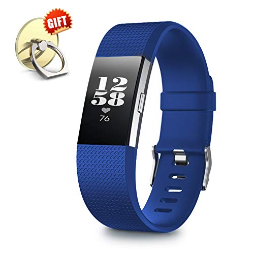 - IYOU Compatible for Fitbit Charge 2 Replacement Bands, Classic Edition Adjustable Silicone Sport Wristbands Fitbit Charge 2 Bands for Women and Men, Royal Blue, Small,【Gift】 1X Finger Ring Stand
