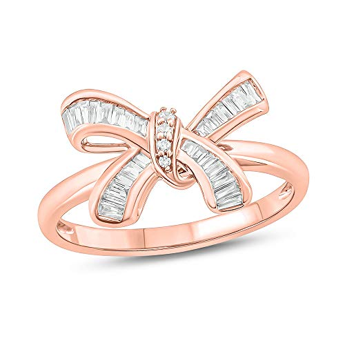Tesero Mio 10K Rose Gold 1/5Carat Baguette & Round (I-J Color, I2-I3 Clarity) Natural Diamond Fine Ring for Women ()