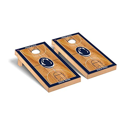 Victory Tailgate Regulation Collegiate NCAA Basketball Court Series Cornhole Board Set - 2 Boards, 8 Bags - Penn State PSU Nittany - Lions Nittany Bag Bean Collegiate