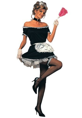 Rubie's Costume French Maid Complete Adult Value Costume, Black/White, One Size (Large)