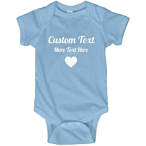 Personalized Baby Outfit with Custom Text: Infant Bodysuit Light Blue (Girl Custom Made Baby Onesie)