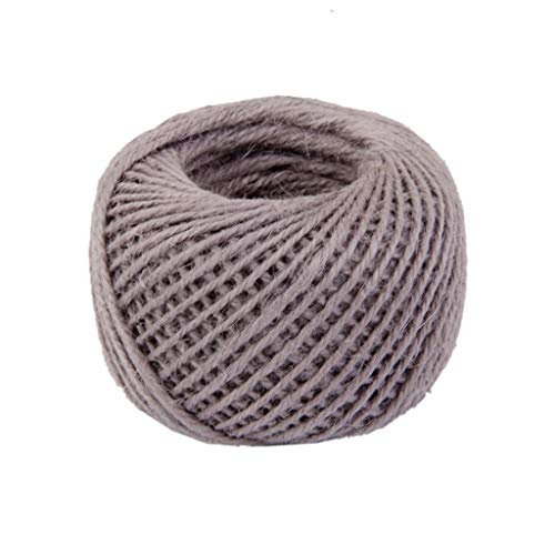 RayLineDo 2mm Jute Twine String 3-Ply 100 Meter Hemp Rope Cord for Tag, Gifts Wrapping, Wedding Decoration, Office, Gardening Projects in Grey