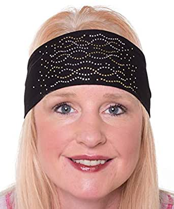 Open Road Girl Hair Bandana: Biker Chick Tie-Back Stretchy Head Wrap: Multi Swirl, 2 Colors - Gold - One Size