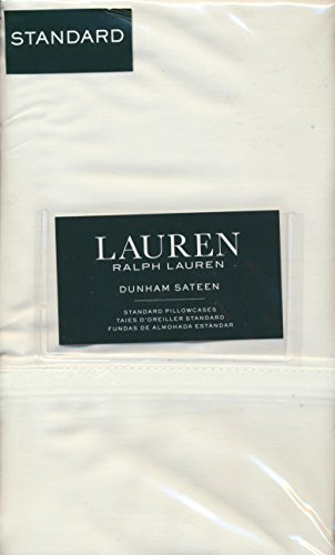 Set of 2 Ralph Lauren Dunham Sateen Standard Pillowcases- White -300 Thread Count 100% Cotton-