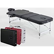 "Angel 3-Section Aluminum 84""L Portable Massage Table Facial SPA Bed Tattoo w/Free Carry Case (Black)"