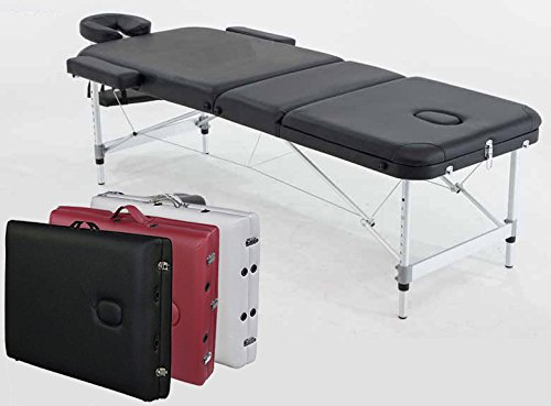 ANGEL USA ® 3-Section Aluminum 84''L Portable Massage Table Facial SPA Bed Tattoo w/Free Carry Case (BLACK) by ANGEL USA