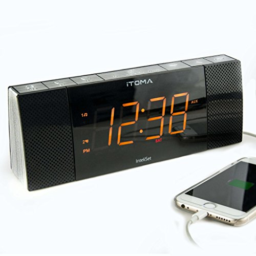 ITOMA Alarm Clock with Digital FM Radio, Bluetooth, Auto-Time Setting, Dual Alarm with Snooze and Sleep Timer, Dimmer Control, Dual Speakers, USB Charge Port, Auxiliary Input (CKS503BT)