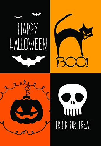 Lantern Hill Four Square Boo Halloween Garden Flag; Halloween Decoration; 12.5 x 18 inches; Double Sided Seasonal Decorative -