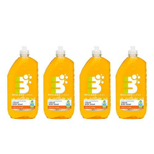 Boulder Clean Liquid Dish Soap, Valencia Orange, 28 oz. (4 Pack)