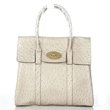 338b42a4e4 Amazon.com   Mulberry Bag Bayswater Clutch Ostrich White   Cosmetic Tote  Bags   Beauty