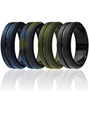 ROQ Silicone Wedding Ring for Men, Elegant, Affordable 8mm Silicone Rubber Wedding Bands, Brushed Top Beveled Edges - Black, Metal Silver, Dark Gray