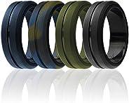 ROQ Silicone Wedding Ring for Men, Elegant, Affordable 8mm Silicone Rubber Wedding Bands, Brushed Top Beveled