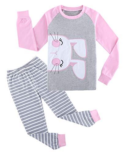 (Fiream Girls Cotton Longsleeve Pajamas Sets Bunny Patch Striped Sleepwear)