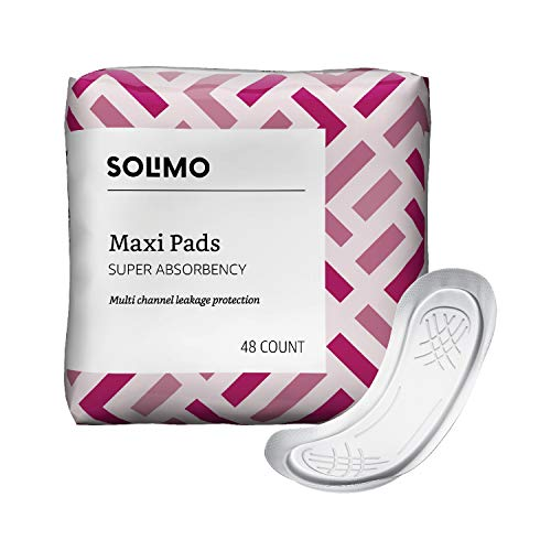 Feminine Maxi Pads - Amazon Brand - Solimo Thick Maxi Pads for Periods, Super Absorbency, Unscented, 48 Count