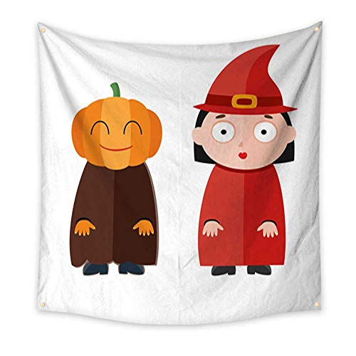 Anniutwo Landscape Tapestry Vector Illustration of Cute Kids Wearing Halloween Costumes Large tablecloths Wall Tapestry 32W x 32L Inch