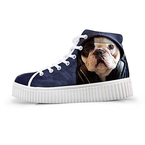 HUGS IDEA Cute Animal Printing Platform Shoes Fashion Sneakers Puppy zHd4AfTkF