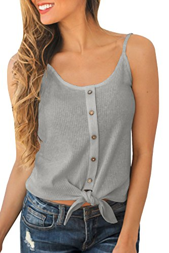 Button Tank In Grey - JOYCHEER Womens Spaghetti Strap Tank Tops Sexy Summer Button Down Cute Front Tie Camis