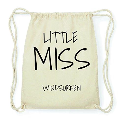 JOllify WINDSURFEN Hipster Turnbeutel Tasche Rucksack aus Baumwolle - Farbe: natur Design: Little Miss